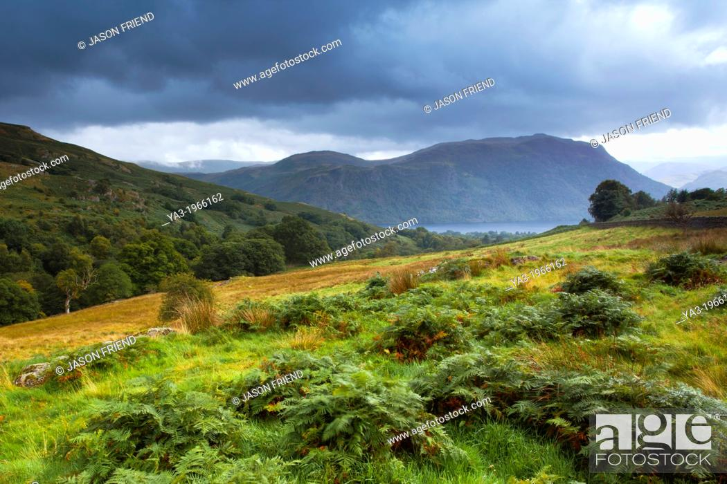 Stock Photo: England, Cumbria, Lake District National Park. Open fells near Aira Beck above Aira Force, a powerful body of water near the shores of Ullswater.
