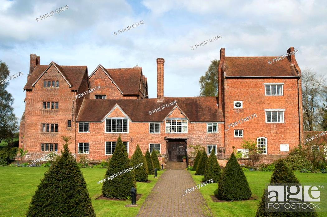 Stock Photo: Harvington Hall, a moated medieval and Elizabethan manor-house in the English Midlands.