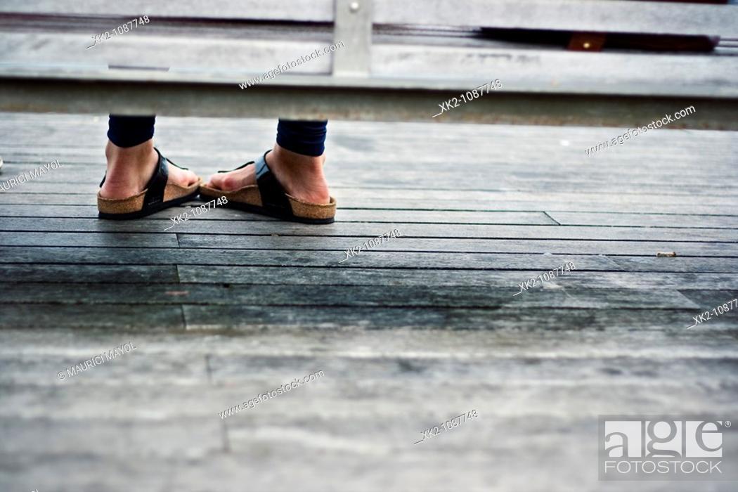 Stock Photo: Shy woman waiting.