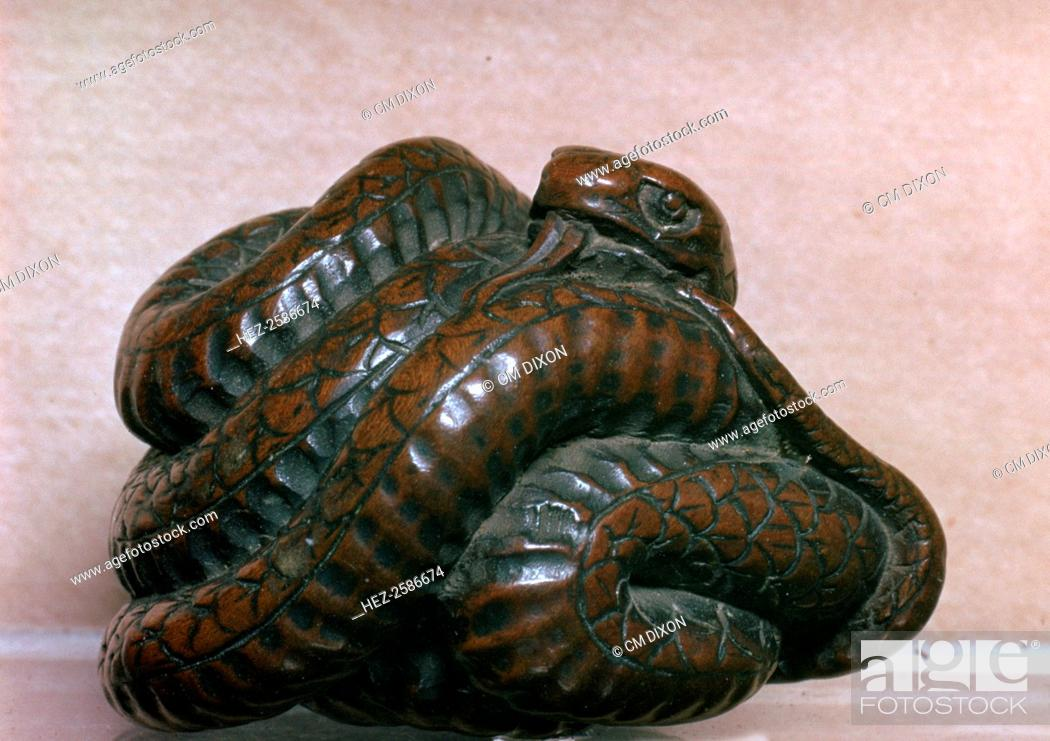 Japanese Netsuke of a snake, one of the twelve animals of the