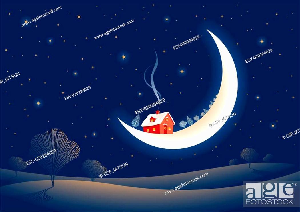 Vector: Christmas moonlit night.