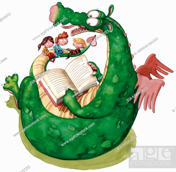 Imagen: Children sitting with dragon and reading book.