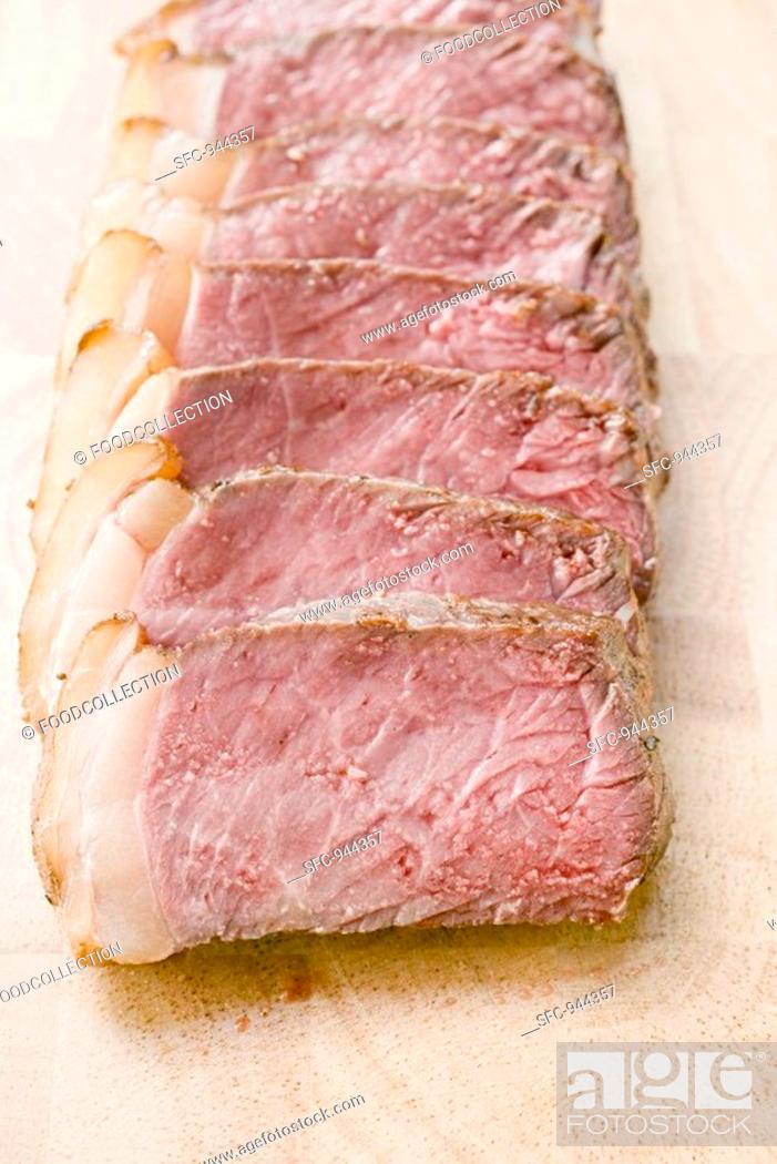 Stock Photo: Double entrecôte, sliced.