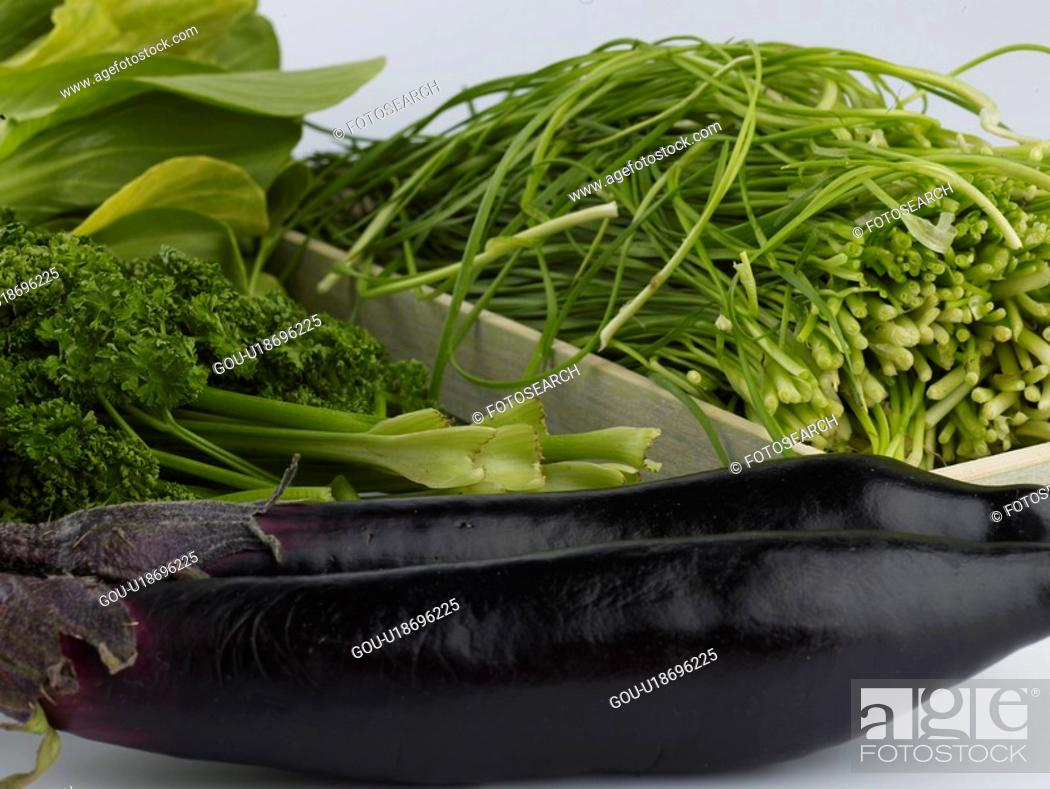 Stock Photo: bok choy, garlic chives, bok choi, parsley, pak choi, eggplant.