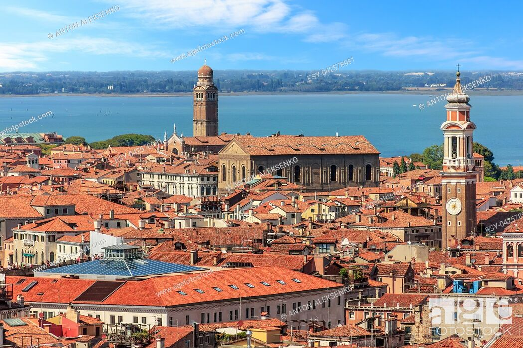 Stock Photo: The San Apostoli bell tower and the Madonna dell'Orto tower in Venice, Italy.