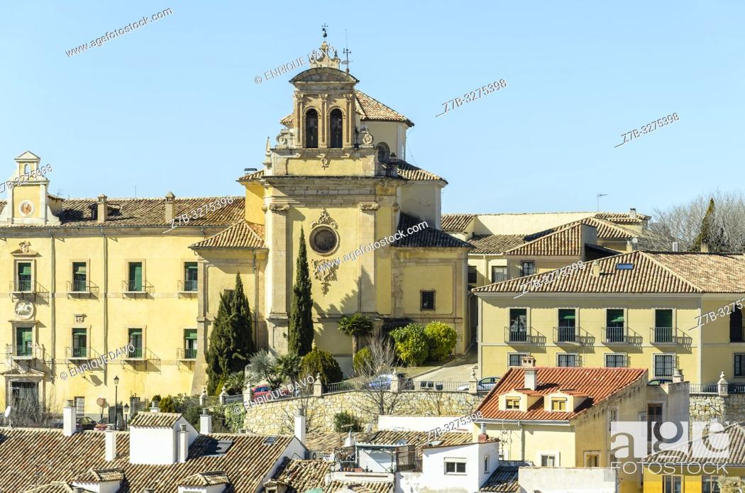 Stock Photo: View from a hill of Cuenca city, Spain.