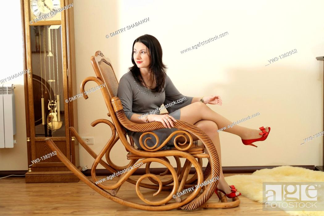 Stock Photo: Portrait of Caucasian women resting on the chair.