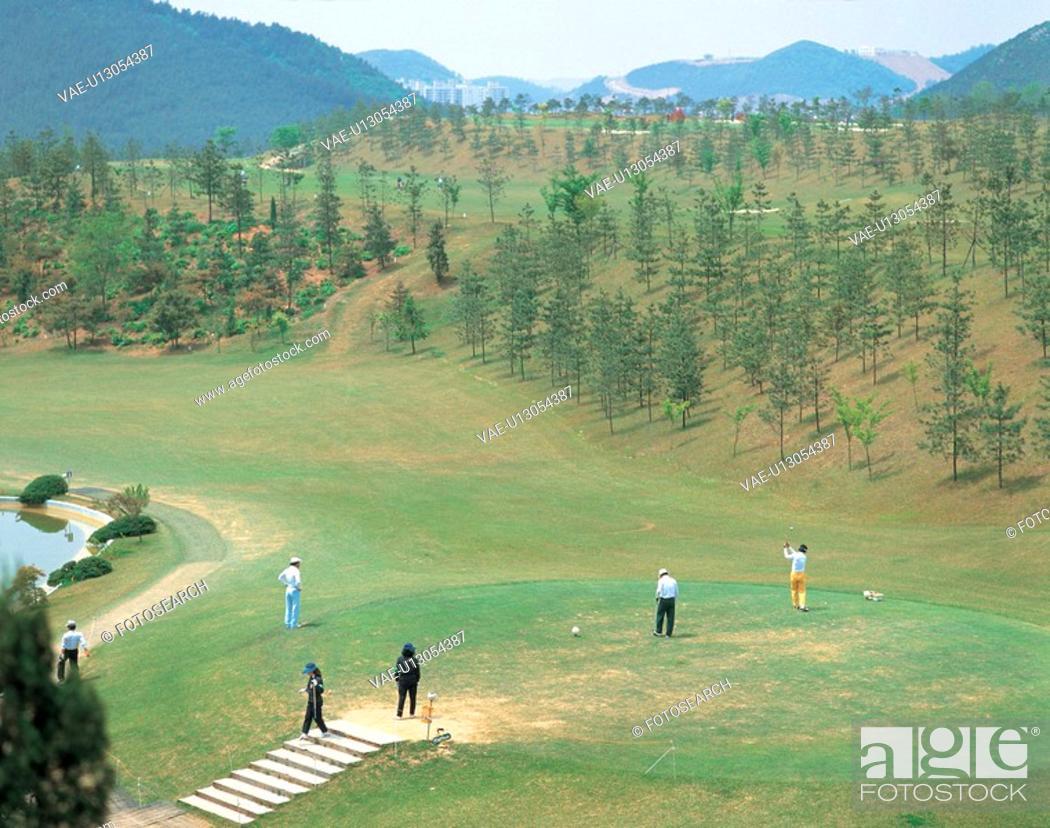 Stock Photo: landscape, human, nature, golf, person, field, sports.