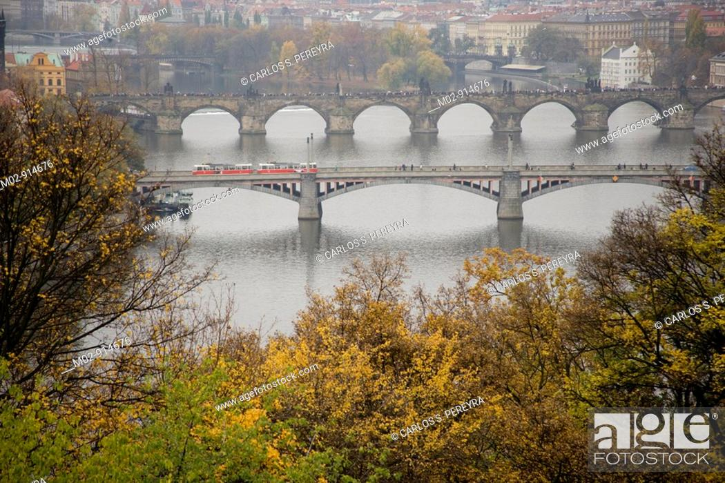 Stock Photo: View of Charles Bridge from Letna, Prague, Czech Republic.