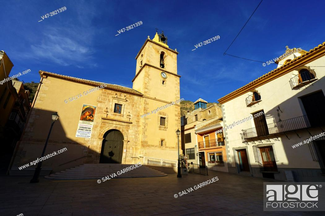 Stock Photo: Plaza Mayor and facade of the church of San Juan Evangelista, Blanca, Murcia, Spain, Europe.