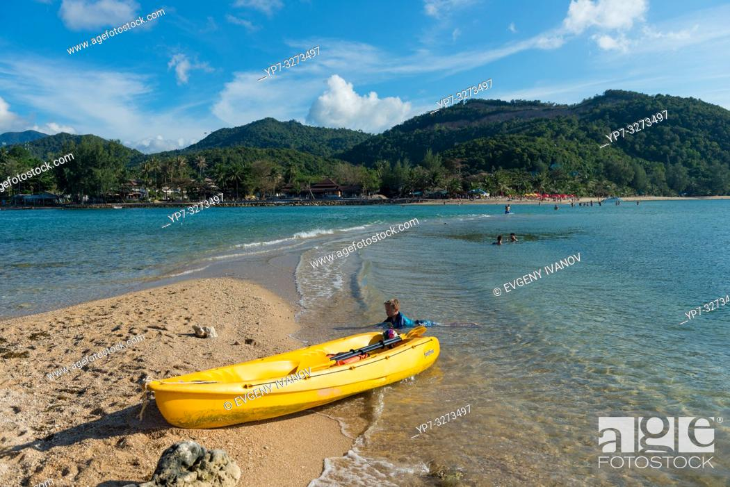 Stock Photo: Yellow kayak in Ko Ma island beach near Phangan island, Thailand.