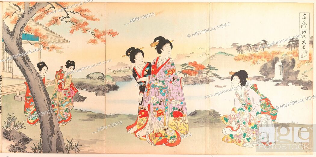 Stock Photo: Chiyoda Castle (Album of Women). Artist: Yoshu (Hashimoto) Chikanobu (Japanese, 1838-1912); Period: Meiji period (1868-1912); Date: 1895; Culture: Japan;.
