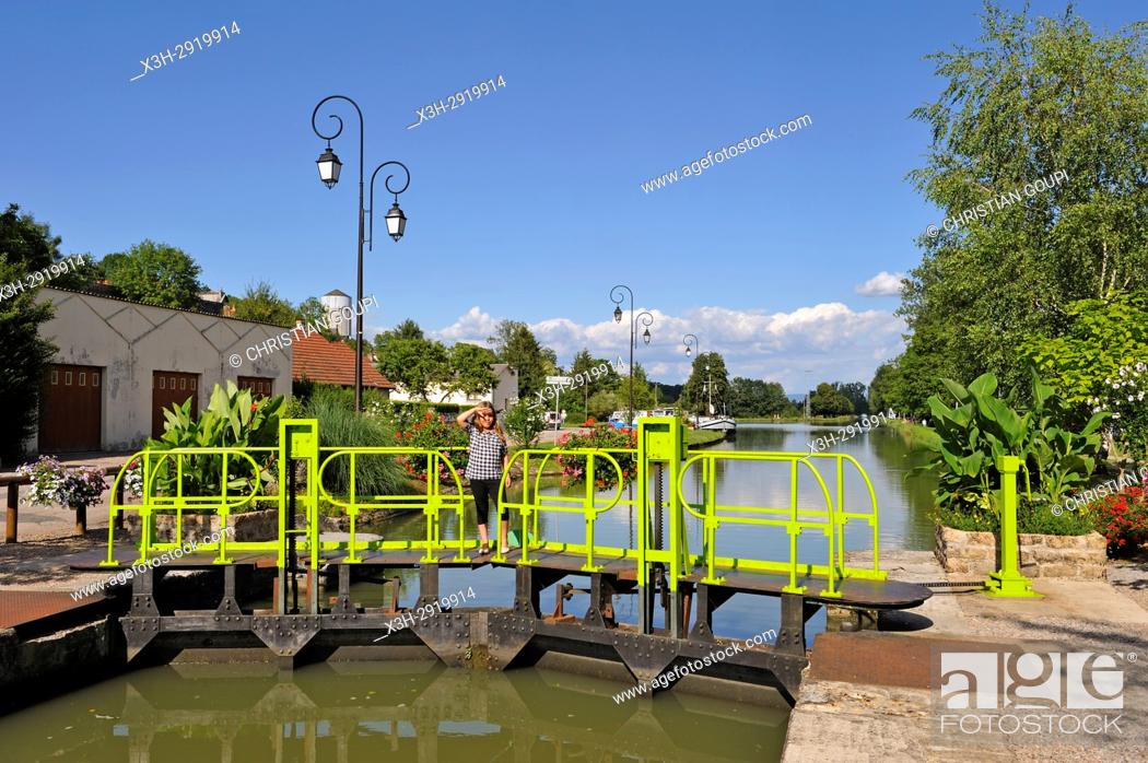 Stock Photo: lock on Canal du Nivernais at Cercy-la-Tour, Nievre department, Bourgogne-Franche-Comte region, France, Europe.