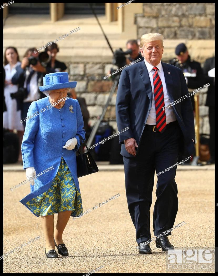 Stock Photo: July 13, 2018 - Windsor, Windsor, United Kingdom - Donald Trump meets with HM The Queen. Queen Elizabeth II greets President of the United States.