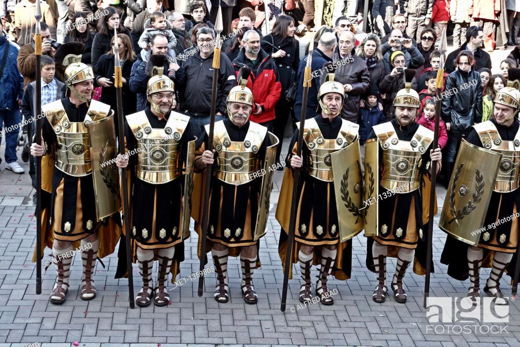 Stock Photo: representation of Roman, tradicional celebritie, La Rapita, Santa Margarida i els Monjos, Catalonia, Spain.