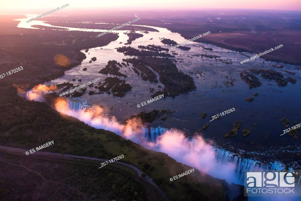 Stock Photo: Victoria Falls seen from the air in the sunset, Zambia/Zimbabwe.