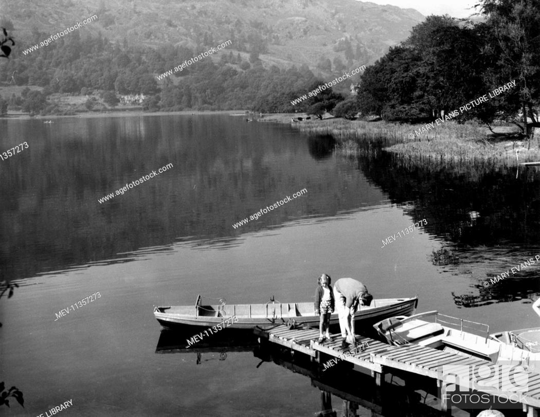 Stock Photo: Boats on the water at Grasmere, Lake District, Cumbria.