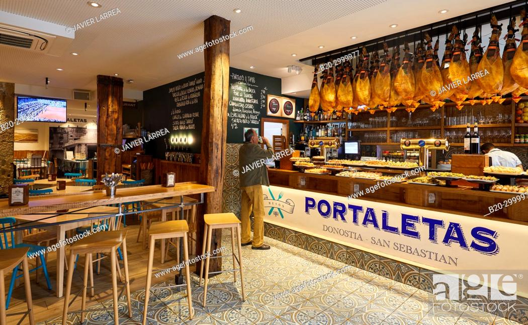Stock Photo: Ham, Pintxos, Bar Restaurante Portaletas, Parte Vieja, Old Town, Donostia, San Sebastian, Gipuzkoa, Basque Country, Spain.