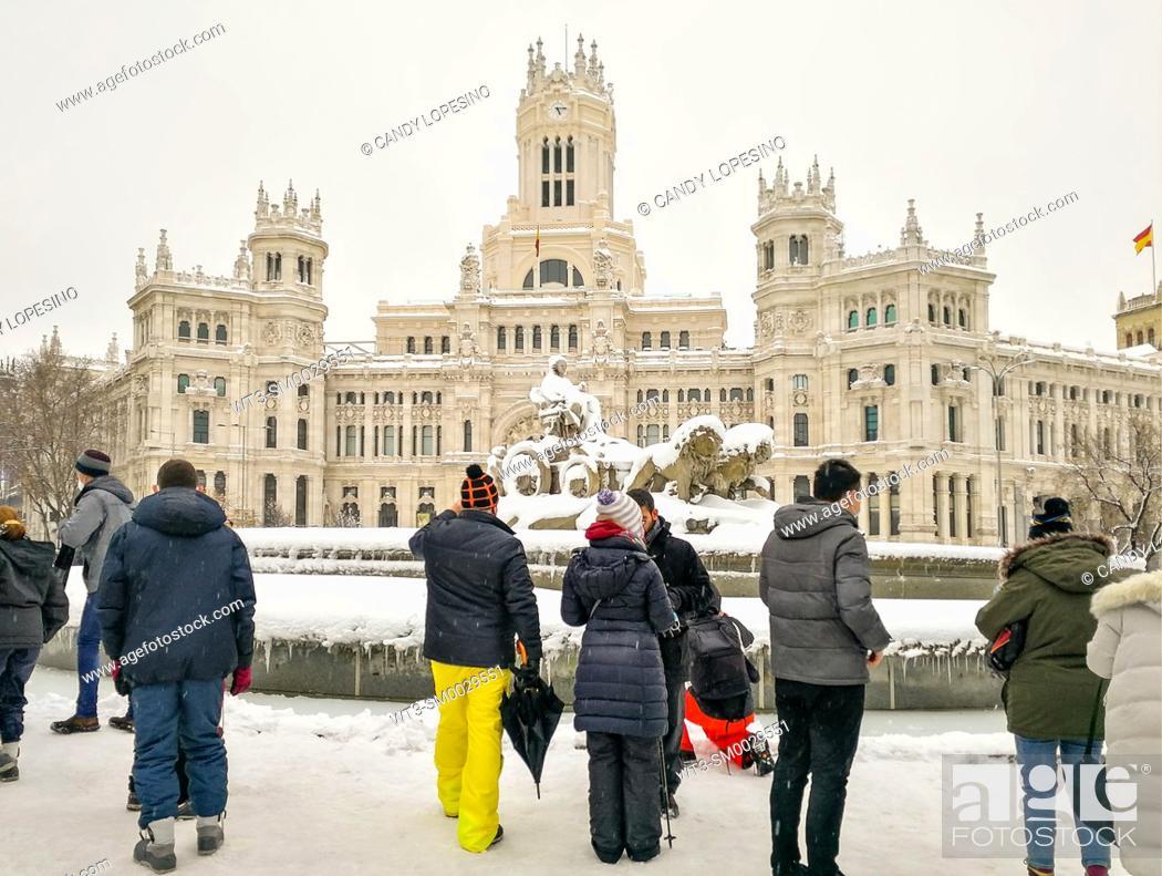 Stock Photo: January 9, 2021, Cibeles statue after Storm Filomena brought intense snow, MADRID, SPAIN, EUROPE.