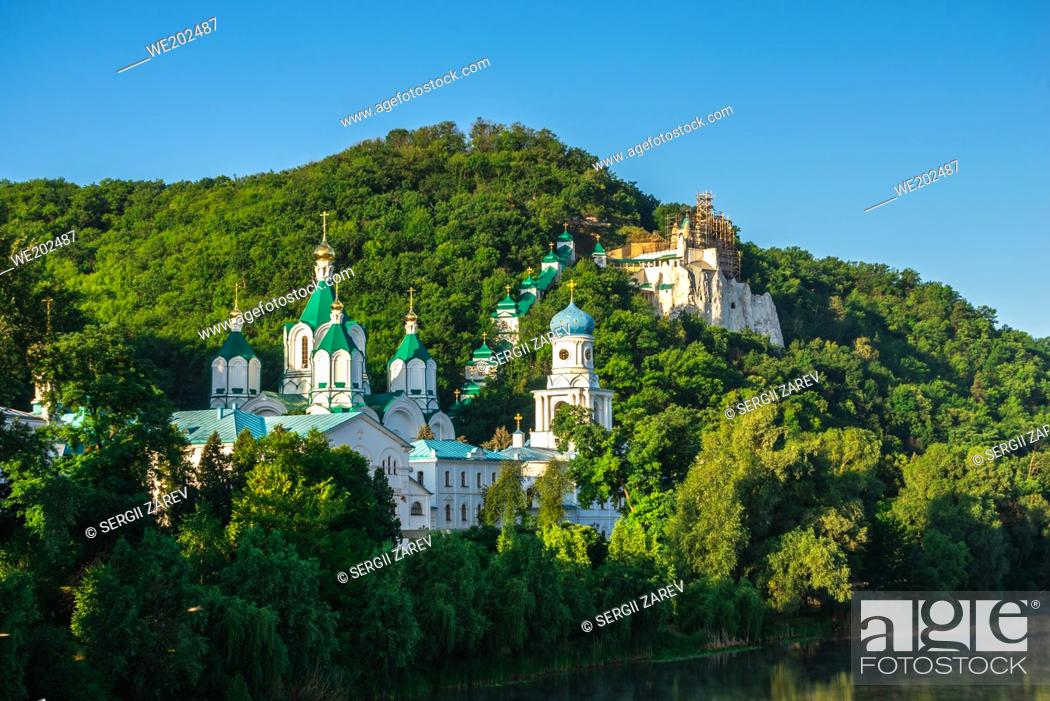 Stock Photo: Svyatogorsk, Ukraine 07. 16. 2020. Panoramic view of the Holy Mountains Lavra of the Holy Dormition in Svyatogorsk or Sviatohirsk, Ukraine.