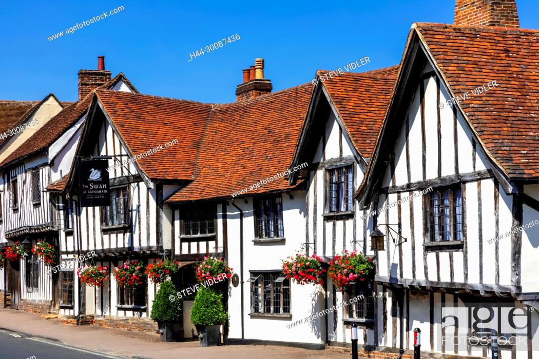 Stock Photo: England, Suffolk, Lavenham, The Swan Hotel and Empty Road.