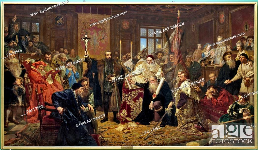 Stock Photo: The Union of Lublin. Matejko, Jan Alojzy (1838-1893). Oil on canvas. Academic art. 1869. Muzeum Lubelskie, Lublin. 298x512. Painting.