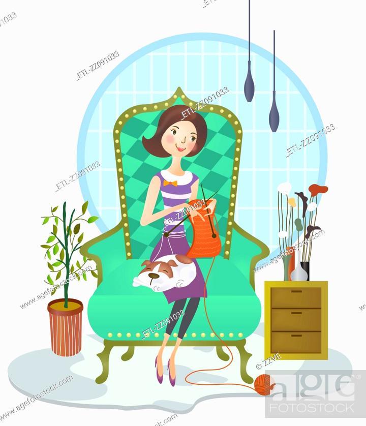 Stock Photo: Woman weaving sweater.