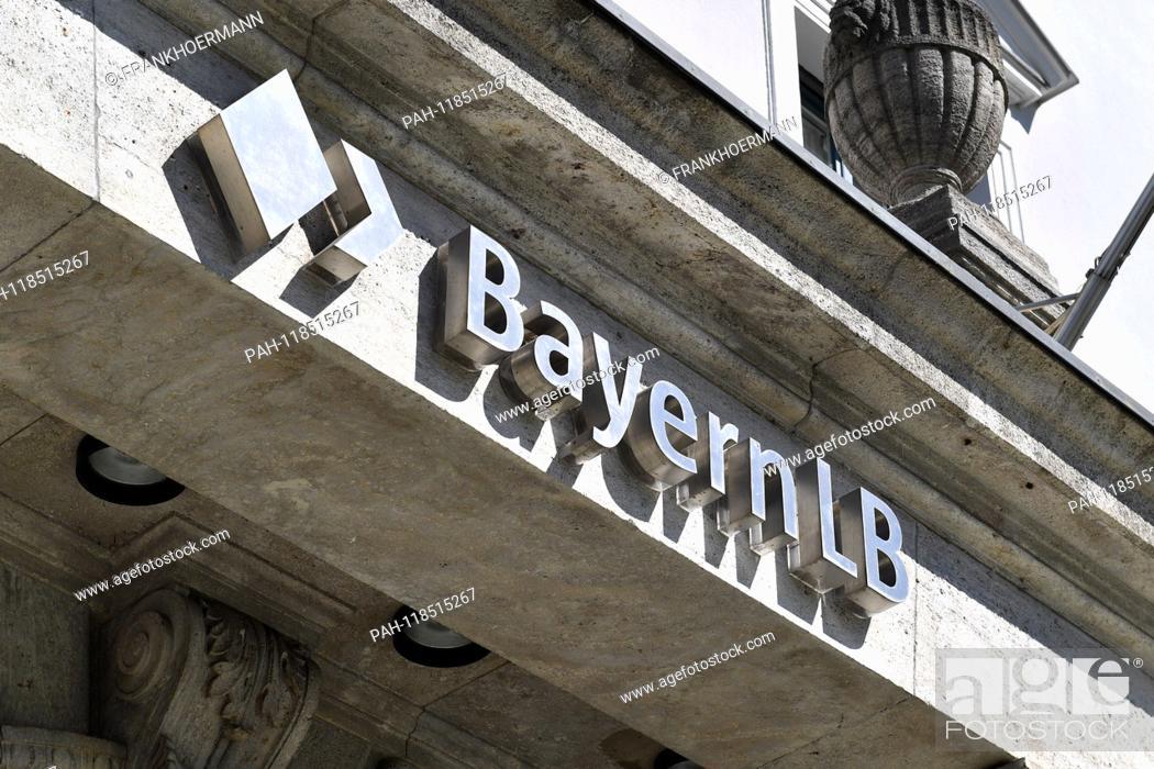 Stock Photo: BayernLB writing, emblem at the headquarters headquarters, building, balance sheet press conference Bayern LB, BayernLB on 21.03.2019.