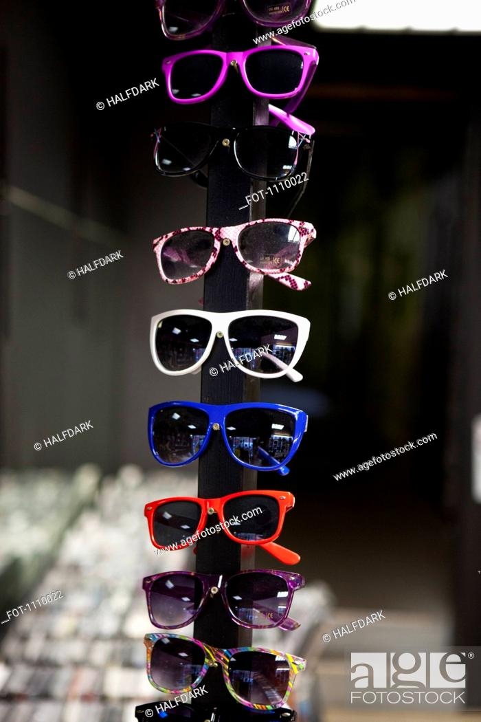 Stock Photo: Sunglasses on display in a store.