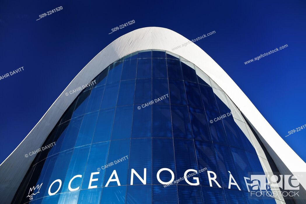 Stock Photo: Detail view of the Main Entry Building of the L'Oceanografic Aquarium, located in the City of Arts and Sciences, designed by the Architect Felix Candela in.