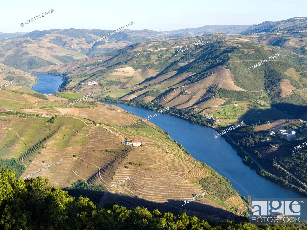 Stock Photo: View over the valley of river Douro near Peso da Regua from Miradouro de S Leonardo em Galafura. The valley of river Douro.