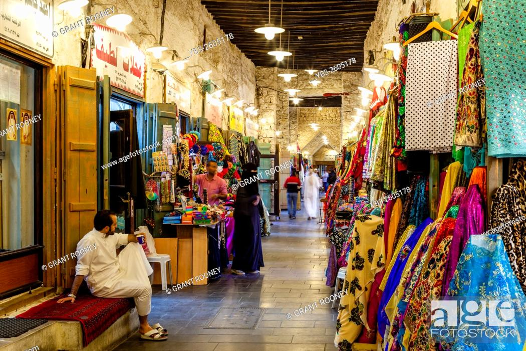 Stock Photo: Colourful Shops In The Souk Waqif, Doha, Qatar.