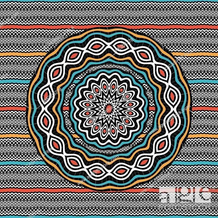 Stock Vector: Mandala with wavy patterns and ethnic colors.
