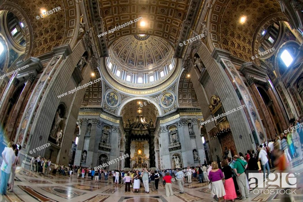 Stock Photo: nave of St. Peter's Basilica, Vatican City, Rome.