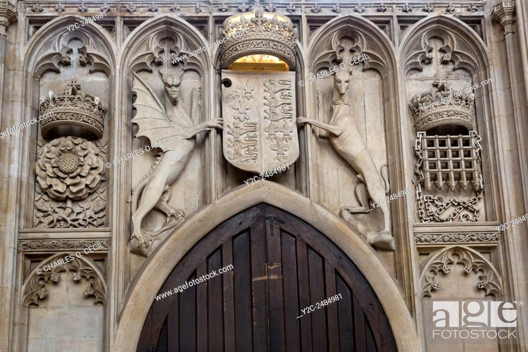 Uk England Cambridge Kings College Chapel Symbols Of Royalty