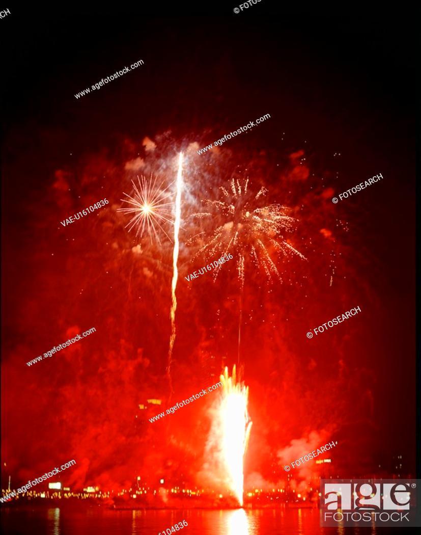 Stock Photo: city, fireworks, landscape, scenery, event, city scenery, night.
