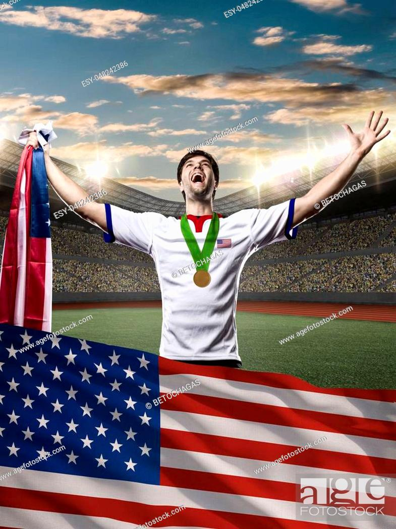Stock Photo: American Athlete Winning a golden medal with a american flag in front.