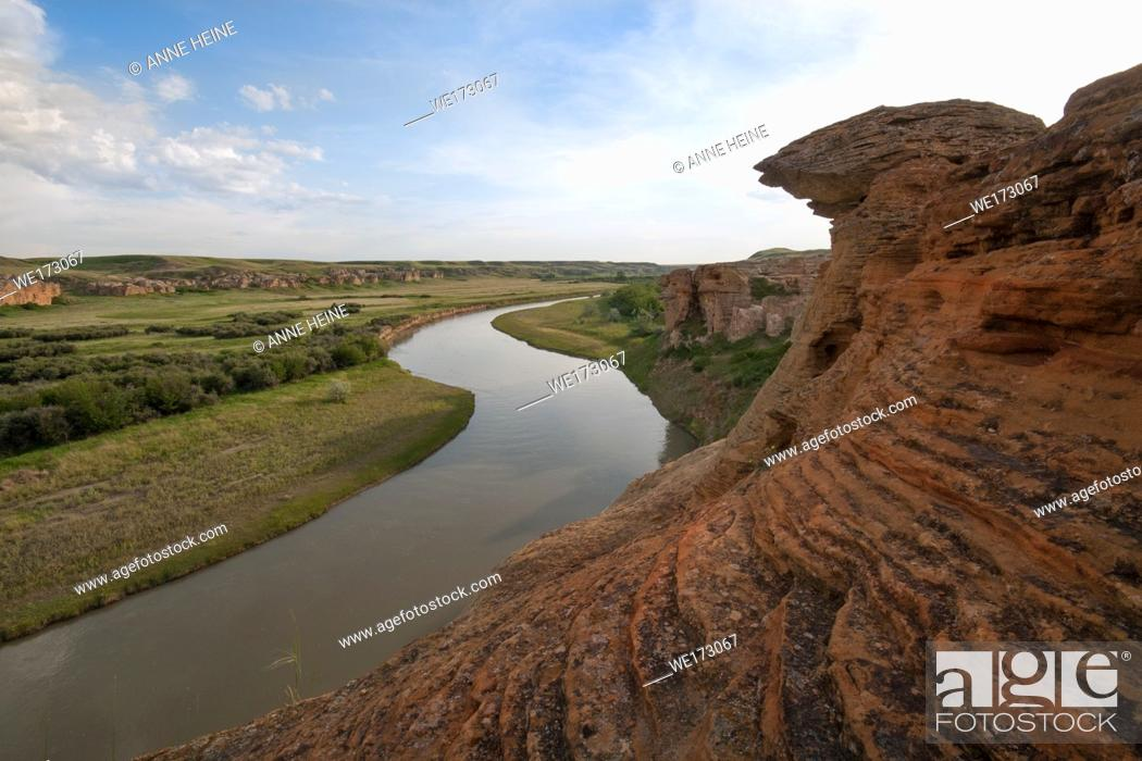 Stock Photo: Badlands in Writing on stone Provincial Park, shaped by Milk River, Alberta, Canada.