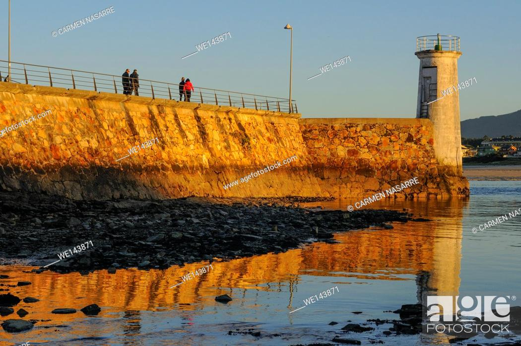 Stock Photo: Sunset in Estuary of Foz, Lugo.