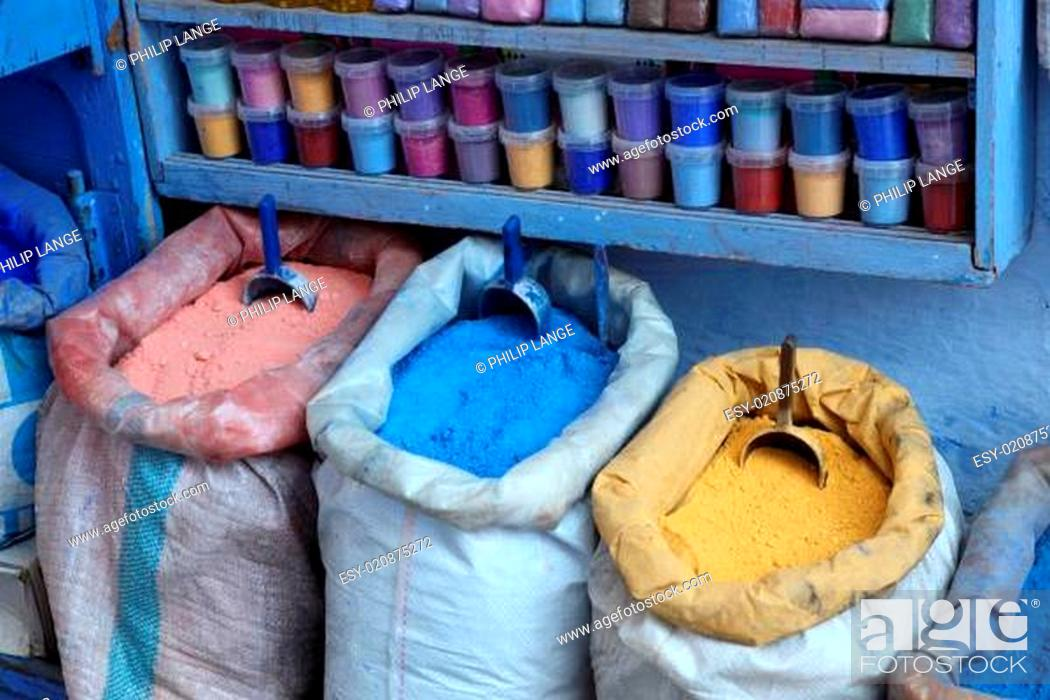 Stock Photo: Colors for sale in the medina of Chefchaouen, Morocco.