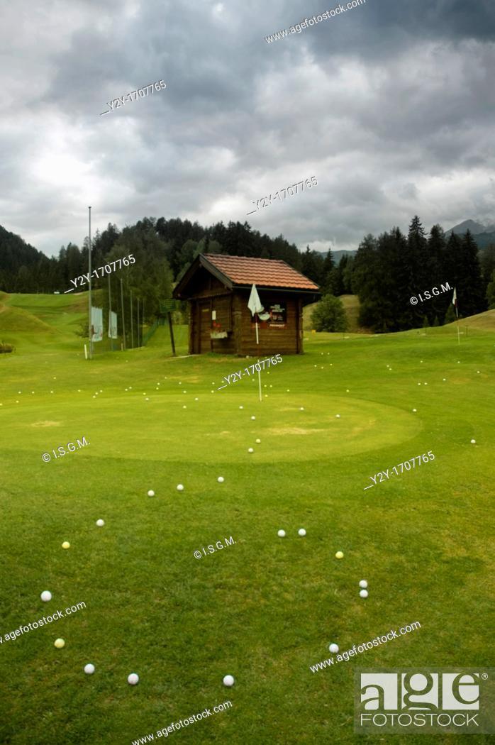 Stock Photo: Golf query. Vulpera, Switzerland.