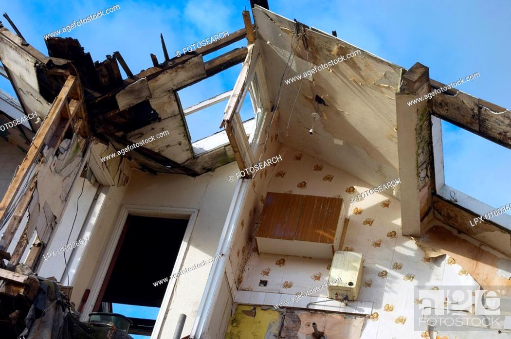 Stock Photo: Close up of a house in ruins.