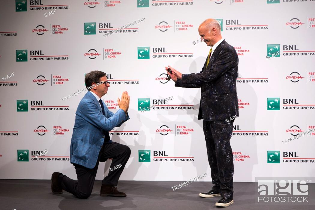 Stock Photo: Antonio Monda with John Waters attends the photocall during the 15th Rome Film Festival on October 17, 2020 in Rome, Italy.