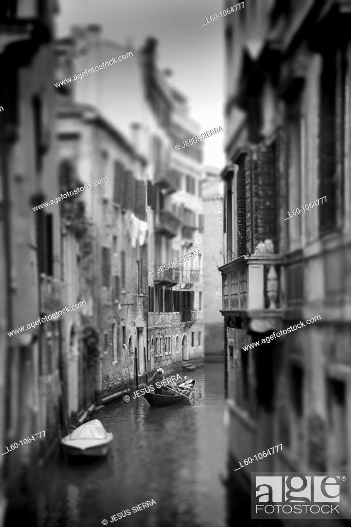Stock Photo: Romantic Gondola in Canal, Venice, Italy.