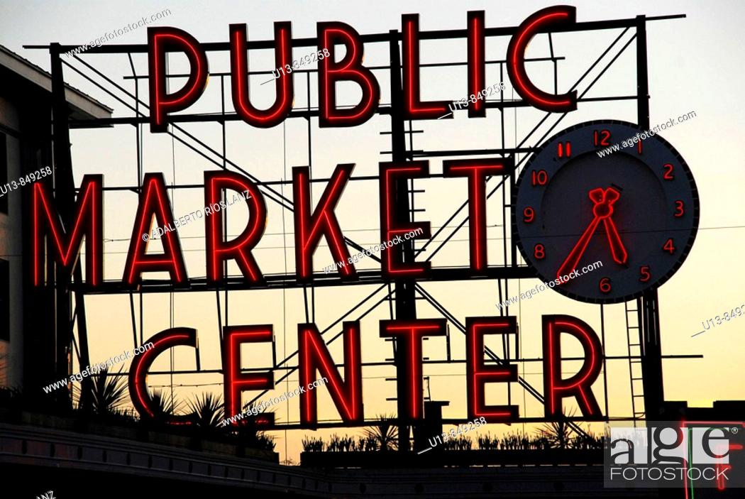 Stock Photo: Iconic, Pike, Place, Market, Neon, Sign, Clock.