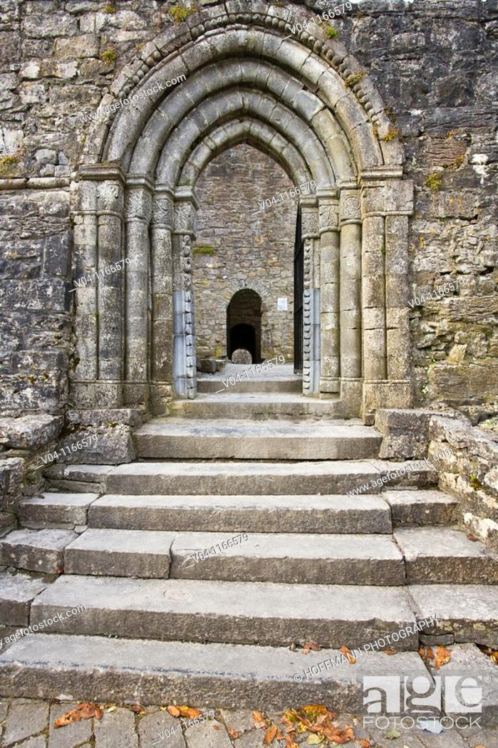 Stock Photo: The entrance to Cong Abbey, Ireland, Europe.