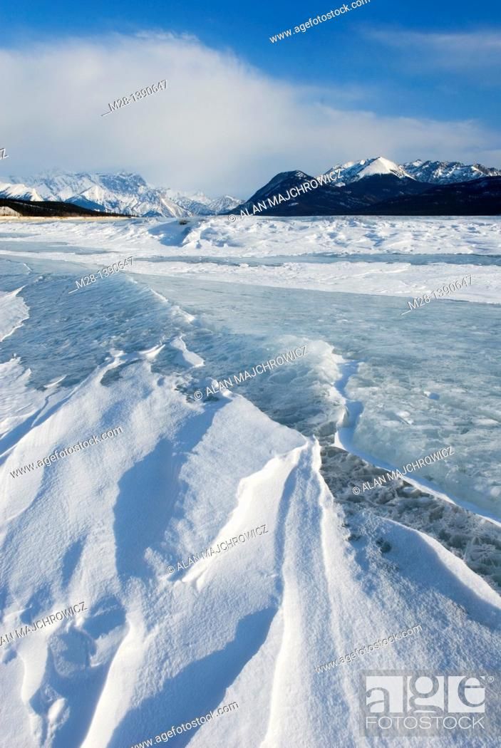 Stock Photo: Abraham Lake in winter, Alberta Canada.