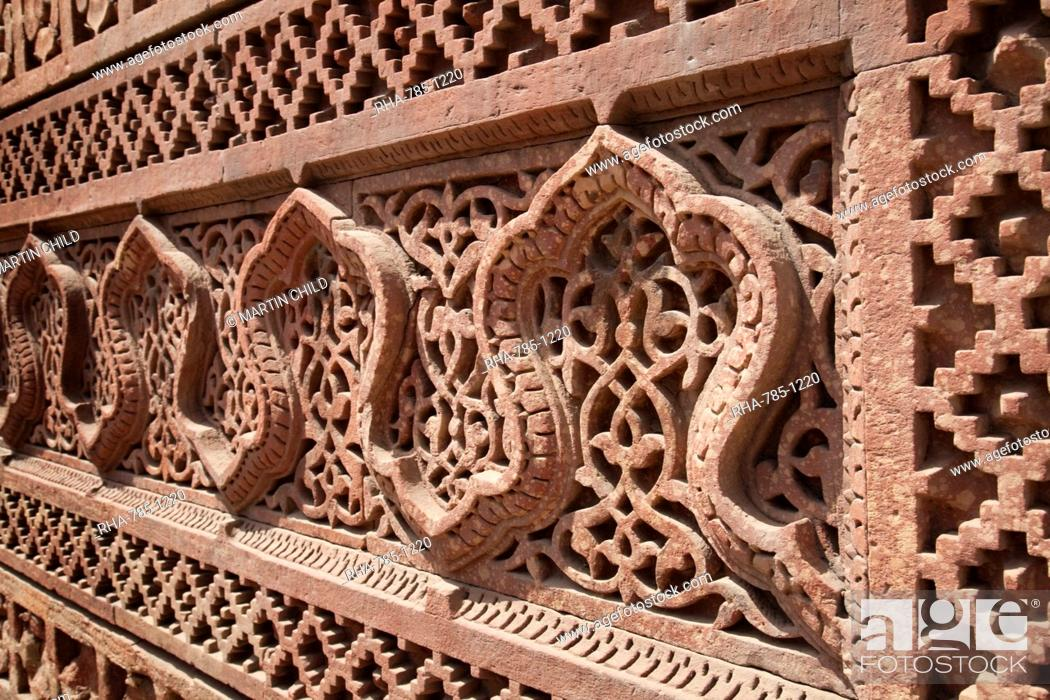 Stock Photo: Intricate carving, Qutb Complex, UNESCO World Heritage Site, Delhi, India, Asia.