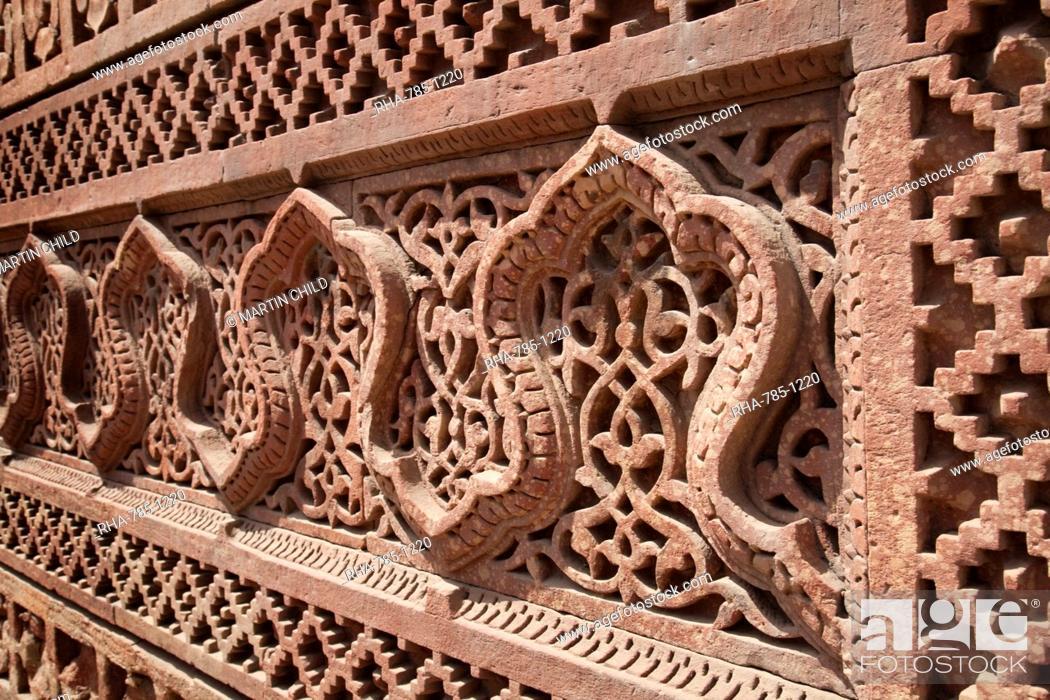 Stock Photo: Intricate carving, Qutb Complex, UNESCO World Heritage Site, Delhi, India, Asia.