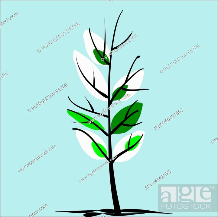 Stock Vector: Spring tree, when the snow melts and leaves sprout.